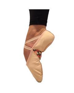 Basilica Floral Panelled Adults Canvas Ballet Shoes