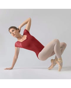Ballet Rosa Justine Leotard with Lace Cap Sleeved and Square Neckline