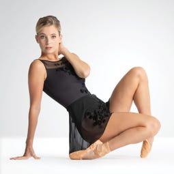 Ballet Rosa Leonie Flocked Floral Design Wrap Skirt