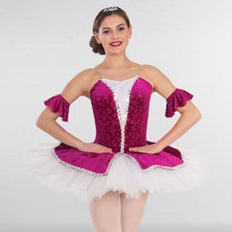 1st Position Embossed Velour Tutu with Glitter Net Top Skirt