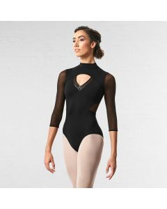 Bloch Ligia Mesh Zipper Back 3/4 Sleeve Leotard