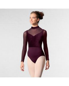 Mirella Velvet Bodice Zipper Back Long Sleeve Leotard
