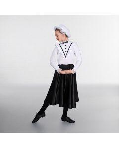 1st Position White/Black Victorian Blouse