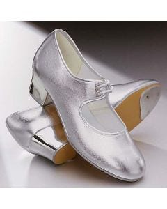 1st Position Silver PU Cuban Heel Tap Shoes