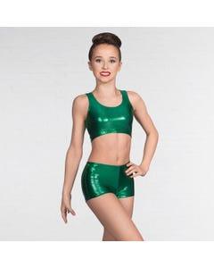 1st Position Metallic Crop Top Emerald