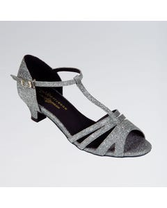 Isabel Black Lamé Ballroom Shoe with T-bar and Slip Buckle