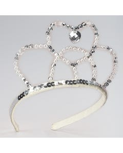 Silver Sequin and Bead Crown Tiara