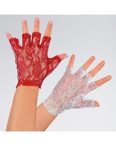 Short Lace Fingerless Gloves (White)